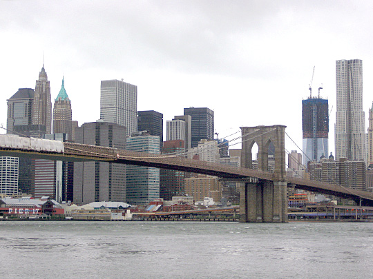 Brooklyn Bridge and One World Trade Center from DUMBO after Hurricane Irene