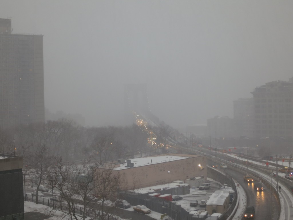 View into Manhattan during snowstorm